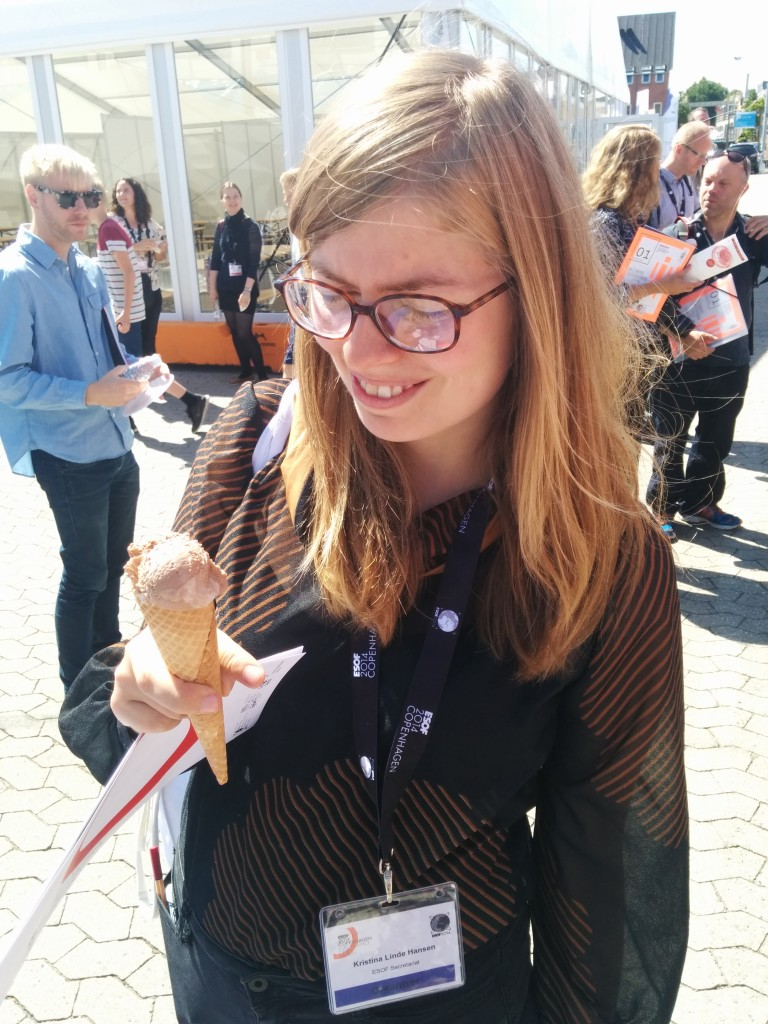 "Kristina Linde Hansen ""enjoying"" an ice-cream based on artificially grown meat cells from pandas."